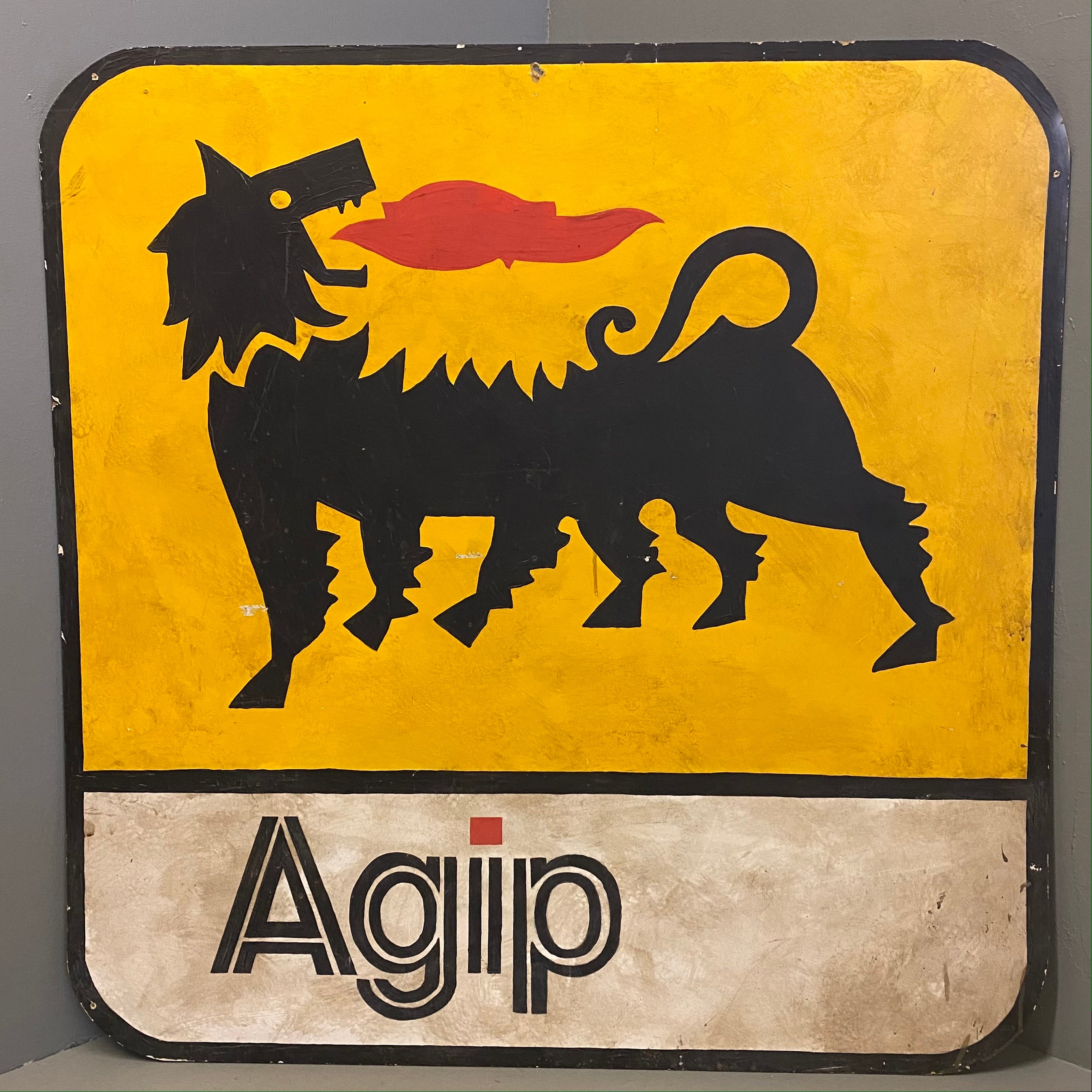 Vintage Hand painted Sign Agip Art