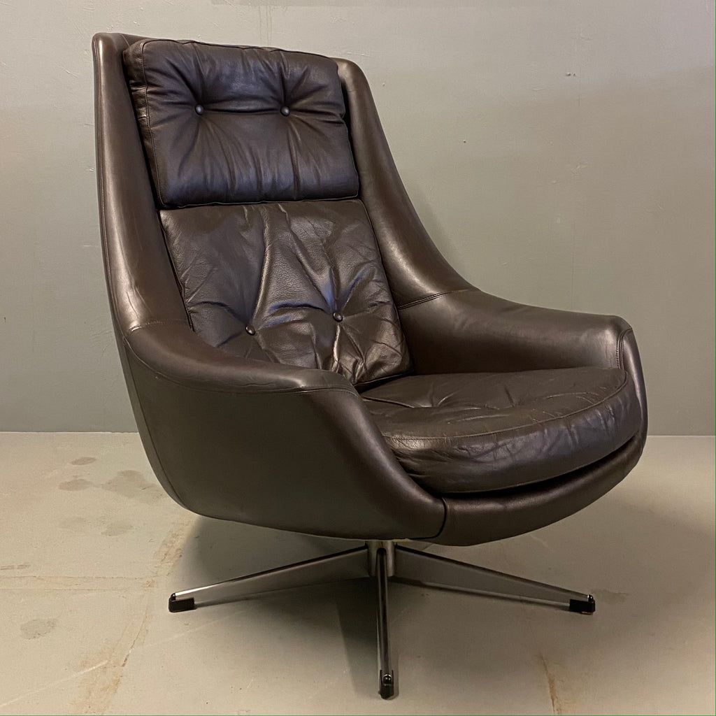 Danish Swivel Chair 1960s Leather