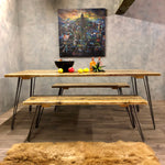 Load image into Gallery viewer, Dining table and benches in reclaimed wood and hairpin legs