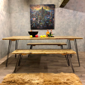 Dining table and benches in reclaimed wood and hairpin legs