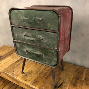 Red and green bedside tables