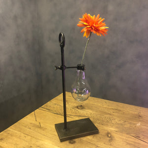 Industrial style lab stand flower holder