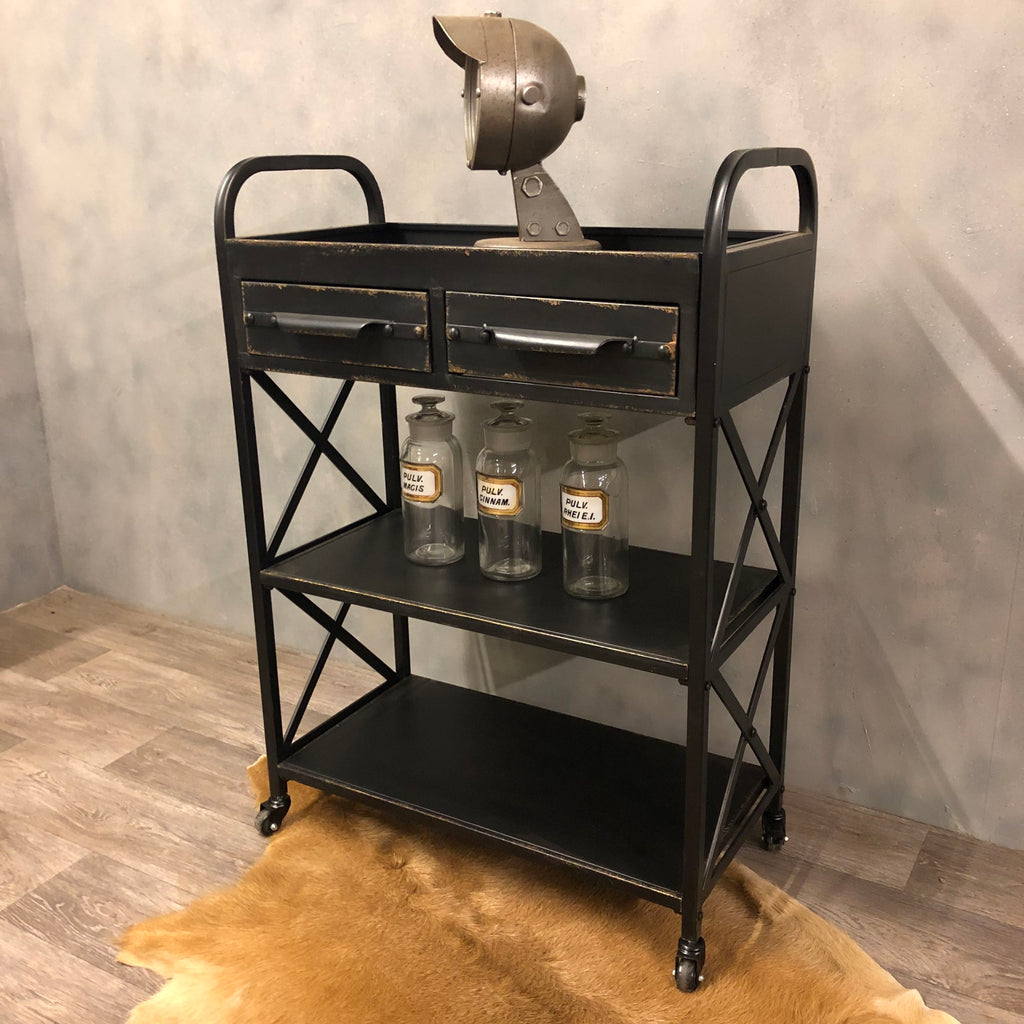 Industrial style trolley drinks cabinet.