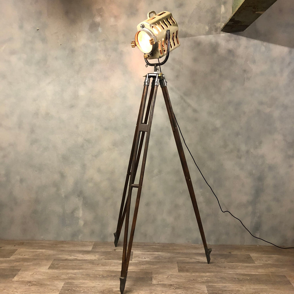 Midcentury Strand theatre light and tripod.