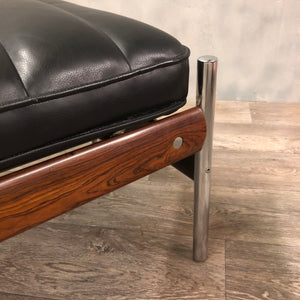 Rosewood and leather footstool