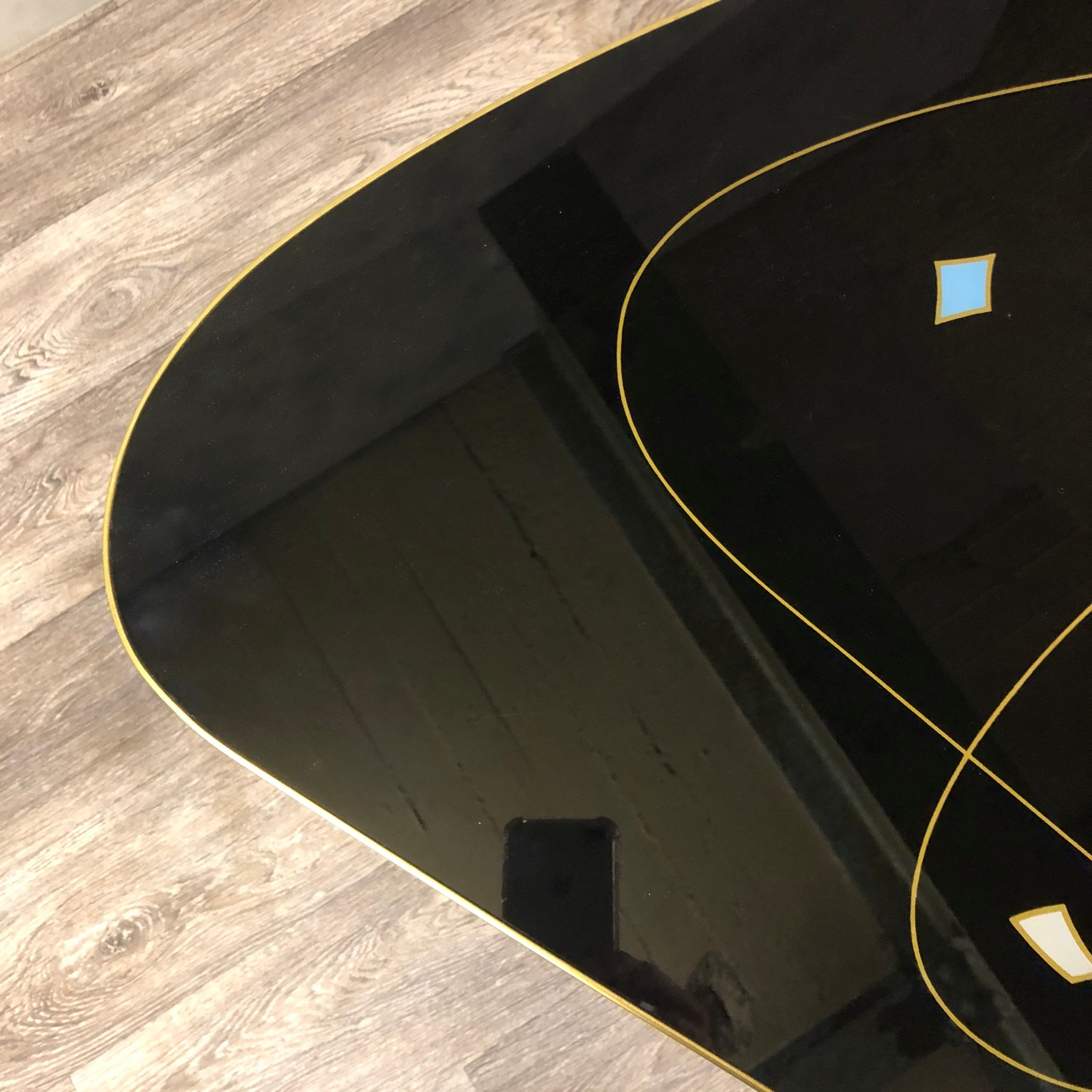 Rare and exquisite midcentury glass topped coffee table