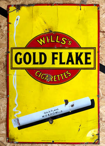 Stunning Vintage enamel sign 'Wills Gold Flake Cigarettes'