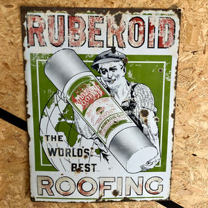 Vintage enamel sign 'Ruberoid; The worlds best roofing'