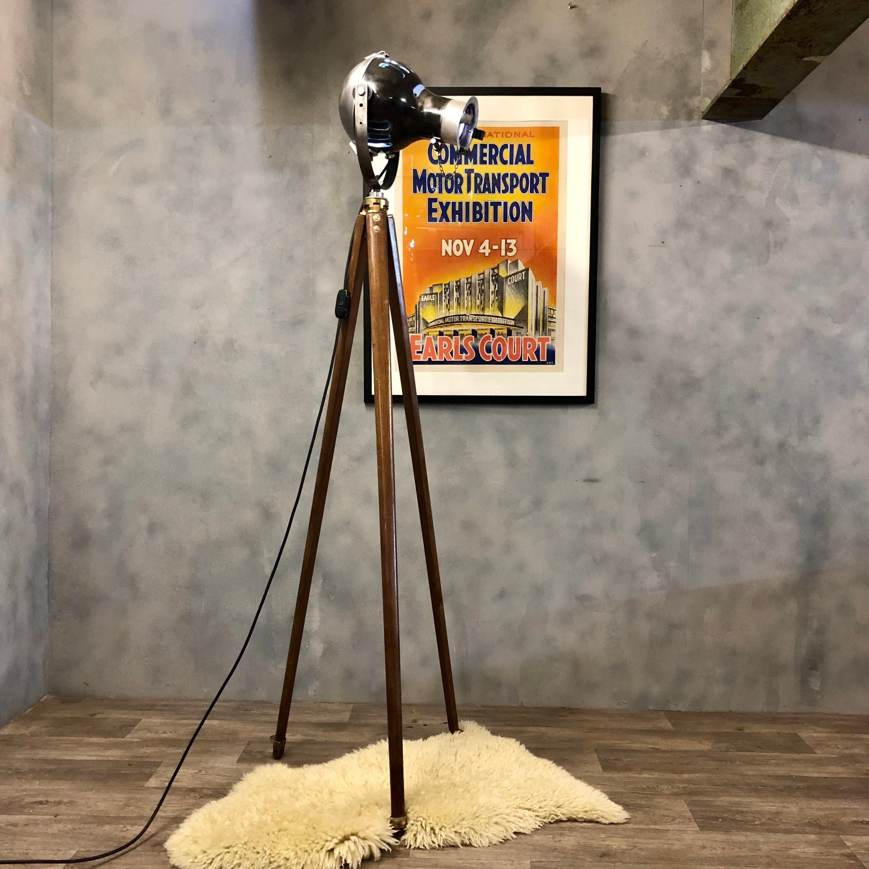 Vintage theatre spot light and tripod