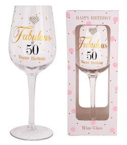 Gibson MAD DOTS FAB AT 50 WINE GLASS