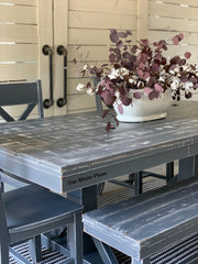 Layered Paint and Wood Planked Table