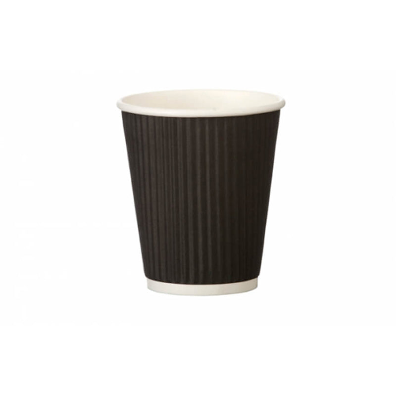 Go Pak 8oz Ripple Coffee Cups Black (qty 500)