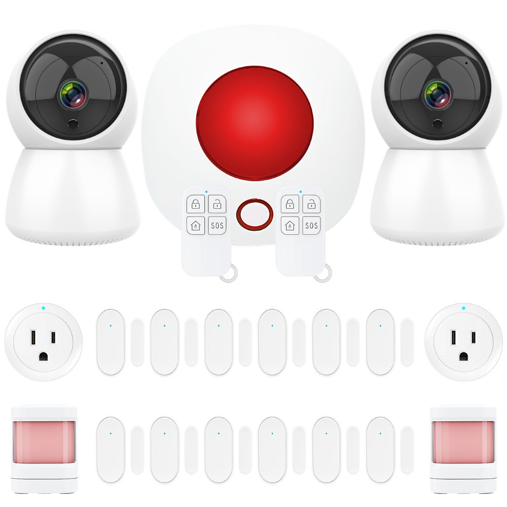 Smart Wi-Fi Alarm System Siren with Security Cameras and Wireless Sensors