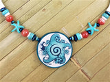 FLORAL GLYPH BEADED NECKLACE