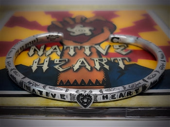 LADIES NATIVE HEART SILVER BRACELET