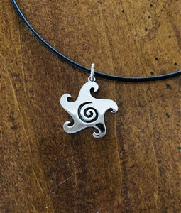 LIGHTWEIGHT SILVER GLYPH NECKLACE / LEATHER CORD