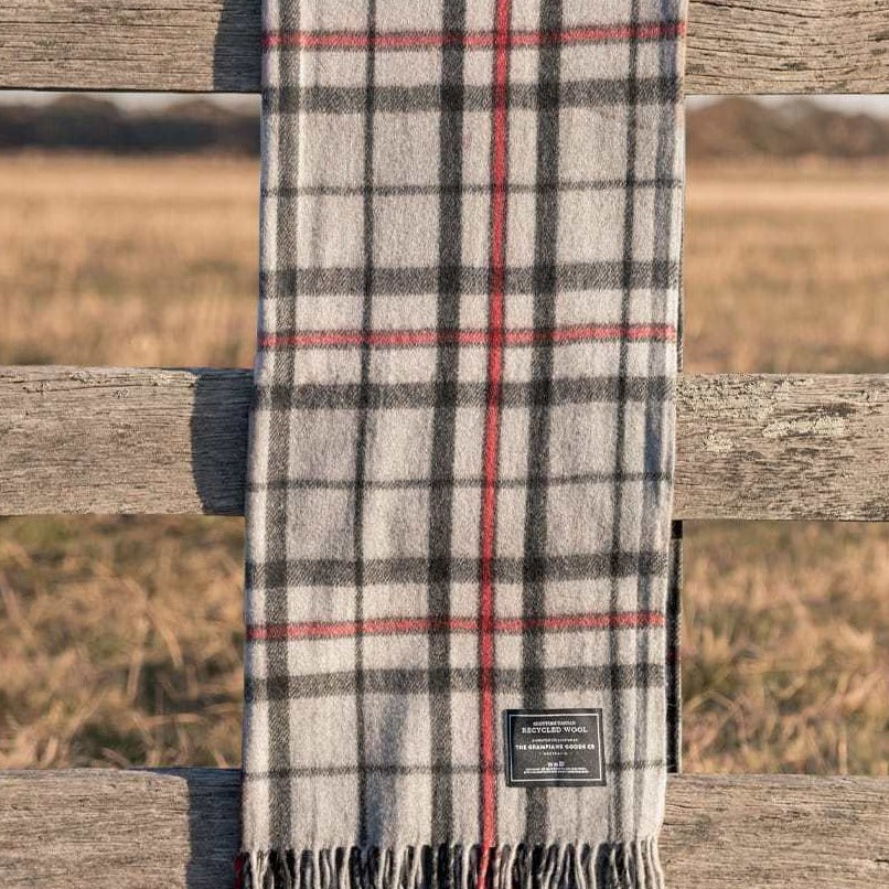 Recycled Wool Scottish Tartan Blanket - Grey
