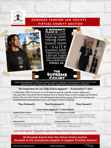 Poster of Lady Justice Apparel™  donation to Osgoode Fashion Law Society (OFLS) Virtual charity Auction