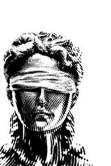 black and white linocut image of Justicia