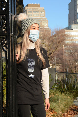 """Lady Justice Apparel™ """"A Woman's Place is...Always on the Supreme Court"""" Exclamation T-Shirt Size Small"""