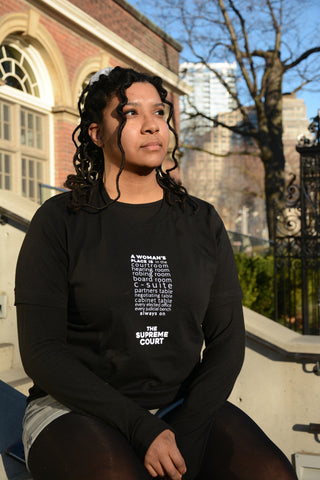 """Lady Justice Apparel™ """"A Woman's Place is...Always On the Supreme Court"""" Exclamation T-Shirt Size Large"""