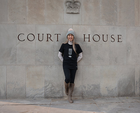 """Lady Justice Apparel™  """"A Woman's Place is...Always on the Supreme Court""""  Exclamation Design in Size Small"""