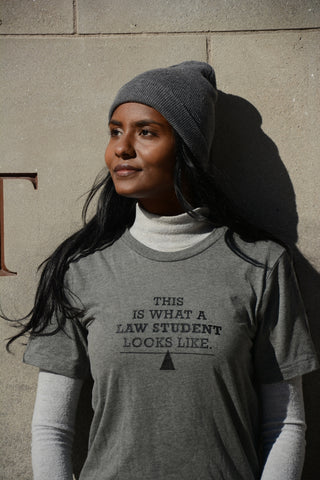 Lady Justice Apparel™ What a Law Student Looks Like t-shirt being worn by female model