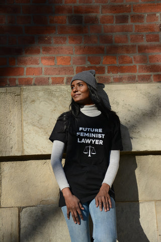 Lady Justice Apparel™ model in our Future Feminist Lawyer tshirt in Toronto