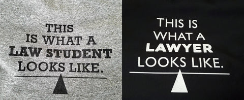 Side by side image of the Lady Justice Apparel Designs for their What Law Looks Like