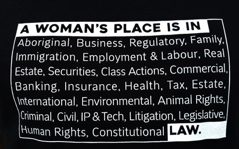 Close up of Lady Justice Apparel™ A Woman's Place is in Law Design