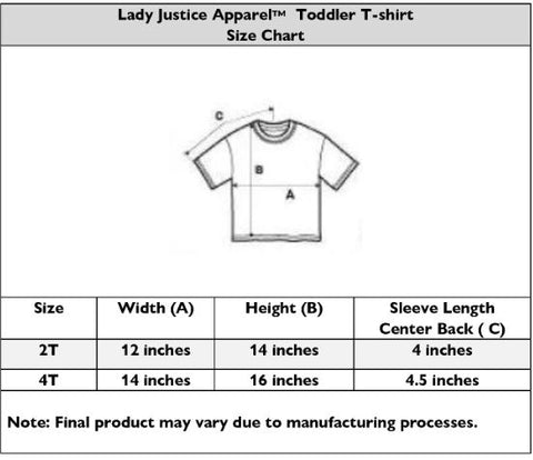 Lady Justice Apparel™ Toddler T-shirt Size Chart