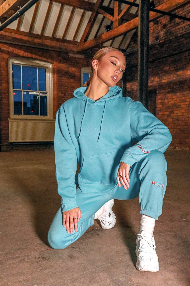 Premium Teal Set with Split Hem Oversized Hoodie