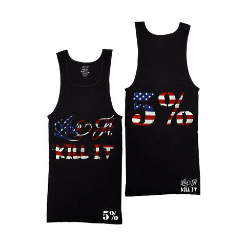 5% Nutrition Ribbed Tank Top Black with American Flag