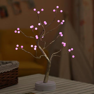 LED Night Light Mini Christmas Tree Copper Wire Garland Lamp for Home