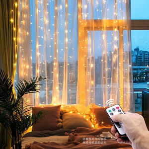 Led Christmas Fairy String Remote Control USB New Year Garland Curtain Lamp 3m
