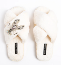 Load image into Gallery viewer, Calista Crystal Brooch Slippers