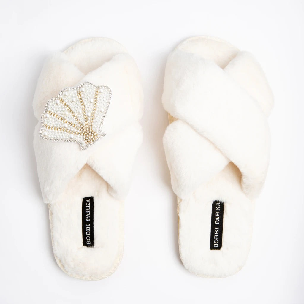 Calista Crystal Brooch Slippers