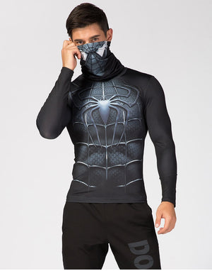 Black Spiderman shirt with mask-scarf