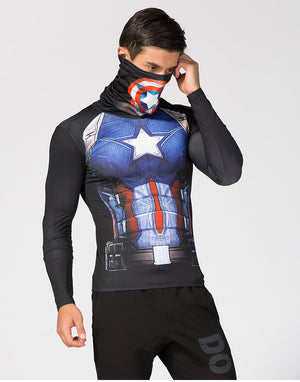Captain America shirt with mask-scarf