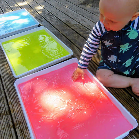Water play is great for cognitive development in babies and toddlers
