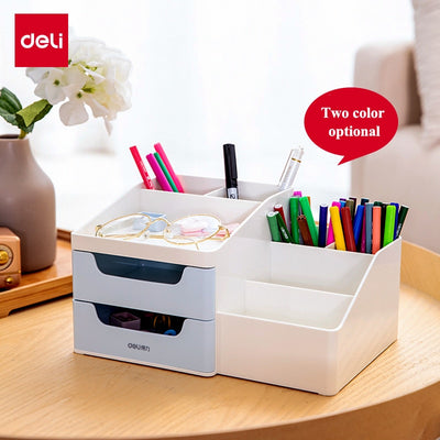 Deli 8900/8901 Desk organizer set Double drwaer storage box Multi-storey desktop office stationery collection box