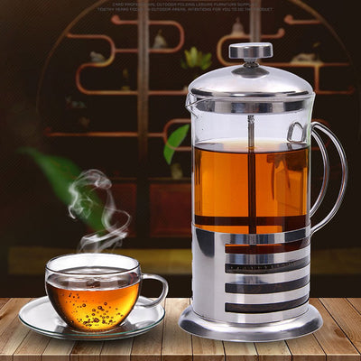 Stainless Steel Coffee Pot French Press Teapot Portable Stainless Steel Tea Maker Household Simple Tea Maker