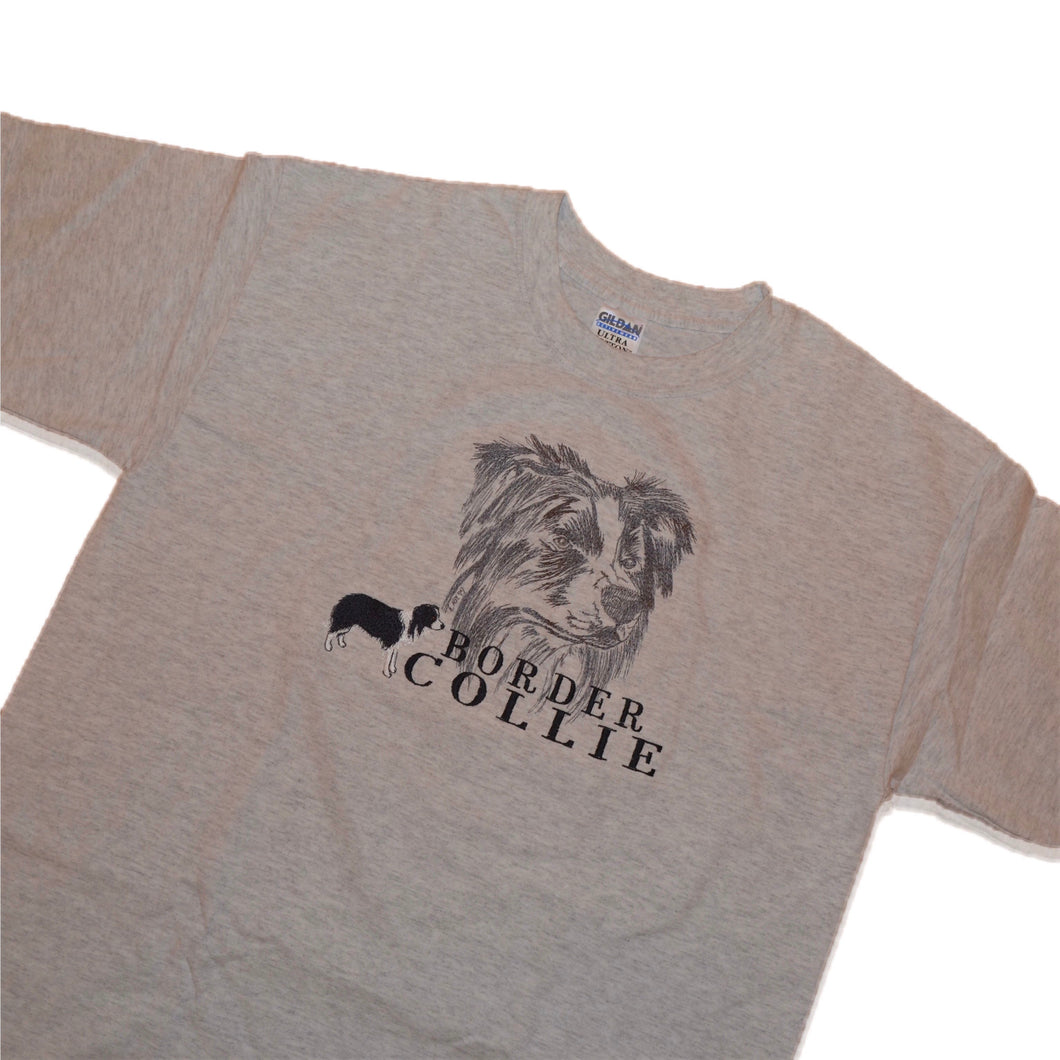 Men's Vintage Border Collie Dog Embroidered T-Shirt Large