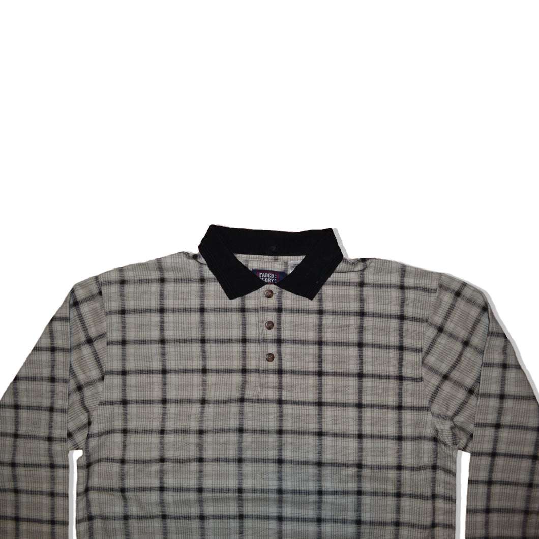 Men's Vintage Checkered Patterned Long Sleeve Polo Shirt XL