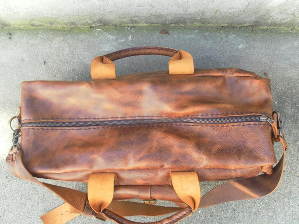 Distressed Tan Duffle Bag-Leather Weekender Luggage Bag