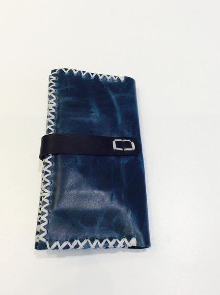 Leather Passport Cover-Handmade Leather Checkbook Blue Holder