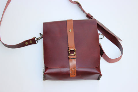 Brownish Crossbody Purse Bag-Full Grain Small Shoulder Bag