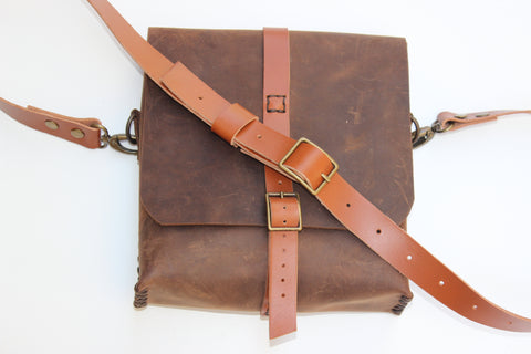 Genuine Brown Leather Crossbody Shoulder Bag