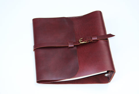 "Burgundy Leather 3-Ring Binder/1.5"" Ring Binder Portfolio"