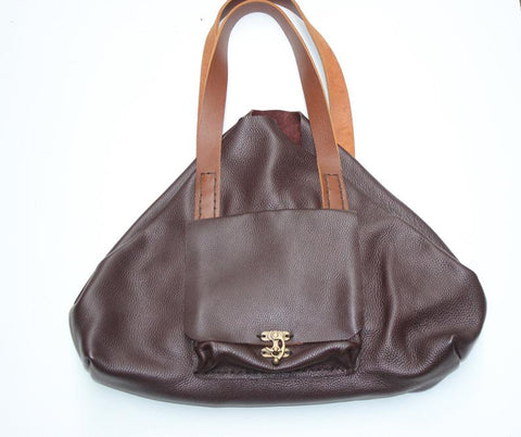 Brown Pebbled Leather Tote Bag-Custom Handmade Leather Tote For Women